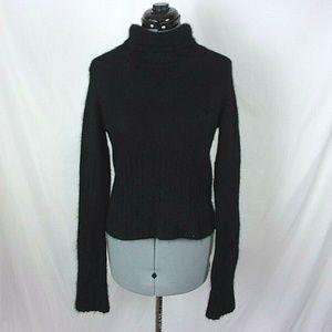 ILLIG Turtleneck Sweater Angora Blend Black Fuzzy